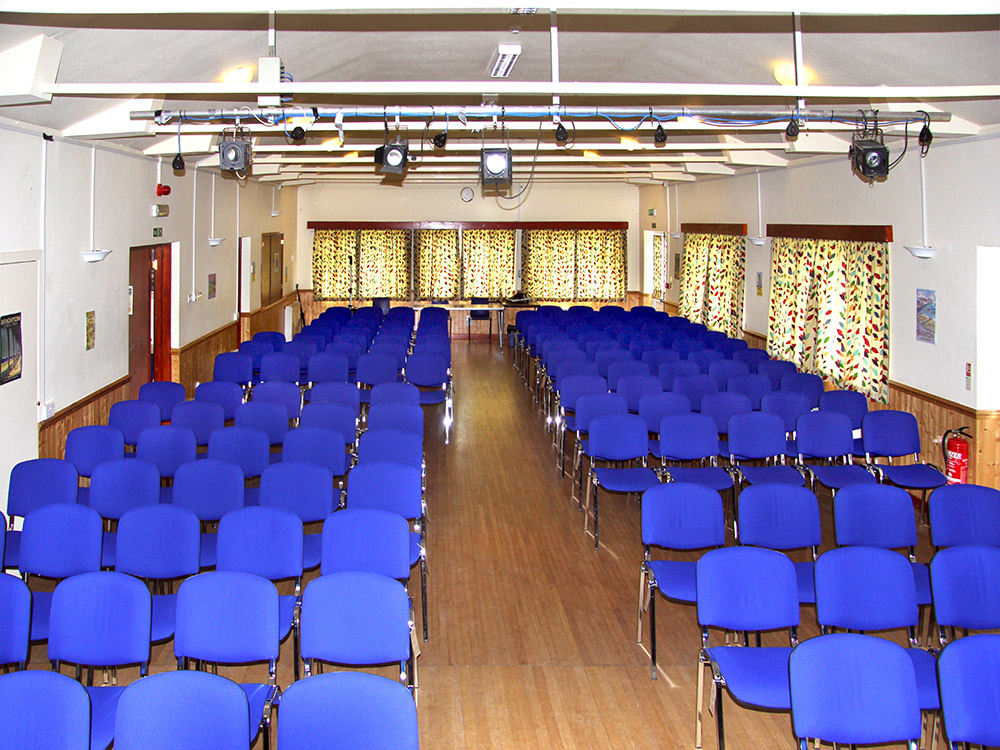 Inside hall blue chairs